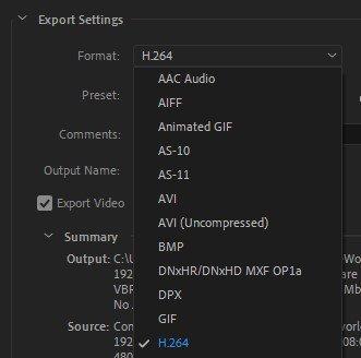 Export Settings Media Encoder